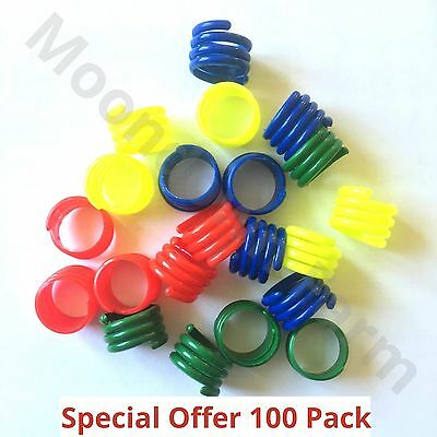 100 X 18mm MIXED COLOURS POULTRY SPIRAL LEG RINGS CHICKEN PHEASANT DUCK • 19£