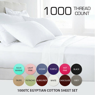 AU75 • Buy 1000TC LUXOR Egyptian Cotton Flat Fitted Sheet Set Single/Double/Queen/King Size