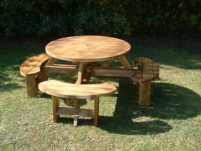 Round Picnic Bench, Table Beer Pub Garden Furniture Made From 38mm Thick Timbers • 259£