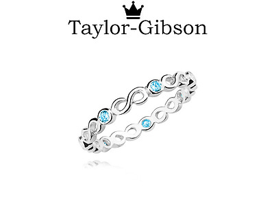 925 Sterling Silver Infinity Ring Aqua Blue Sizes H - Z Cute Stacking Ring • 10.99£