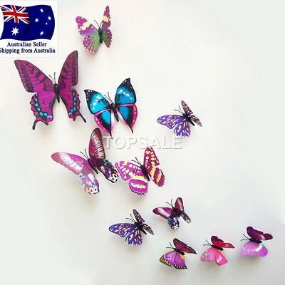 AU5.99 • Buy 3D Butterfly Wall Sticker Home Decor, Wedding Decor Removable 12Pcs Purple