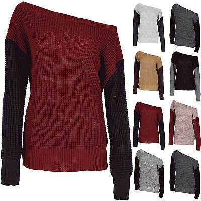 Ladies Women's Oversized Off The Shoulder Chunky Knit Contrast Sleeve Jumper Top • 6.12£