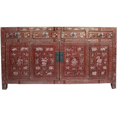 AU2380 • Buy Chinese Antique Furniture -  Original Red Manchurian Painted Sideboard (38-035)