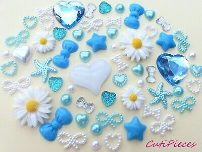£3.95 • Buy Baby Blue White Resin Sunflowers Bows Pearl Rhinestone Heart Flat-Back Craft Mix