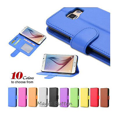 AU5.99 • Buy New Wallet PU Leather Flip Case Card Slot Cover For  Galaxy S6 S6 Edge