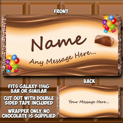 Chocolate Bar Wrapper Personalised Fits Galaxy 114g Birthday Gift Novelty W002 • 1.99£