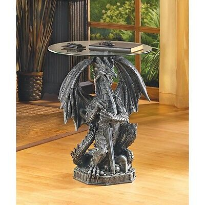 Stunning SCULPTED MYSTICAL GUARDING DRAGON ACCENT END SIDE OR NIGHT TABLE ** NIB • 102£