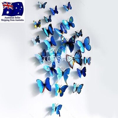 AU5.99 • Buy 3D Butterfly Wall Sticker Home Decor, Wedding Decor Removable 12Pcs Blue