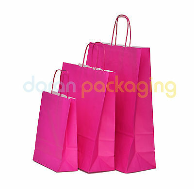 £0.99 • Buy Pink Paper Bags Twist Handle Party And Gift Carrier / Paper Bags With Handles