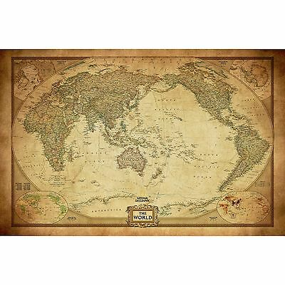 AU22.50 • Buy Vintage World Map Poster Canvas Detailed Center Australia Waterproof Map Wall