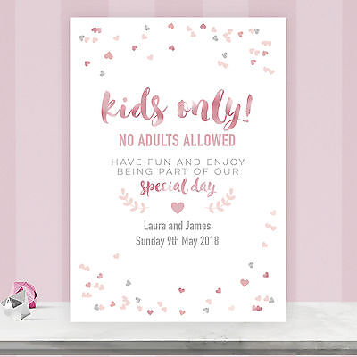 Personalised Wedding Kids Only Table Sign Blush Gold & Pink Confetti BLG21 • 4.75£