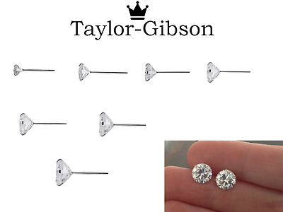 925 Sterling Silver Round Studs Earrings Clear Tiny Small Medium Large Sparkle • 3.95£