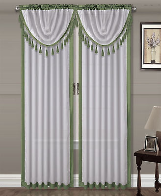 $6 • Buy 1pc AMY SAGE / White Silky Rod Pocket Panel Window Treatment Curtain 55  X 84