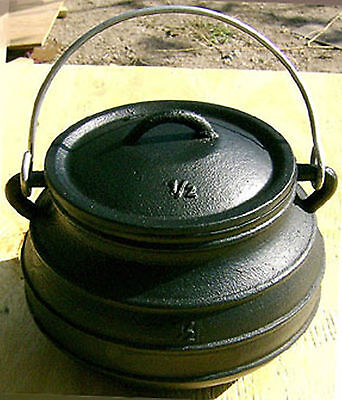 $ CDN139.49 • Buy 7QT Cast Iron Dutch Oven #2 Flat Bottom Potjie Bean Pot Campfire Survival