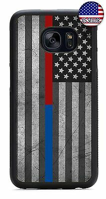 $ CDN21.43 • Buy Samsung Galaxy S8 PLUS S7 S6 Edge S5 Rubber Case Cover Police Firefighter Flag
