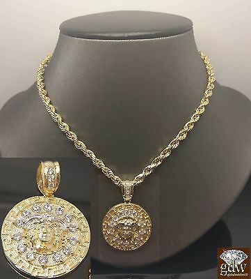 £521.98 • Buy 10K Yellow Gold Medusa Head Charm Pendent With 10 K Rope Chain 24  Men