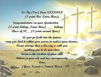College Graduation Personalized Poems 4 Her~ Cross Background~See All 24 Styles • 6.60£