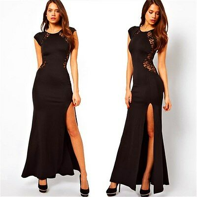 Black Red Dress Long Side Split Party Lace Cocktail Elegant Maxi Womens Ladies • 4.65£