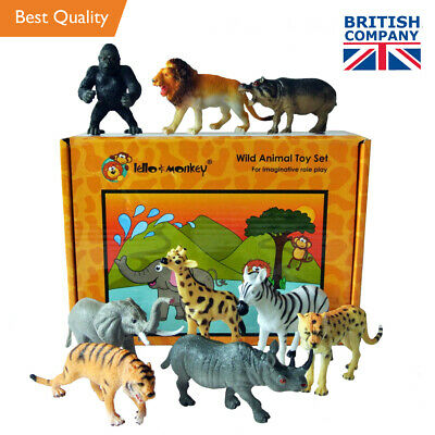 £12.99 • Buy Wild Zoo Safari Animals Toys Figures Set Of 9 Boxed - Direct From The Importer