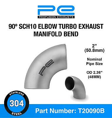 2  Sch10 60mm OD 90 Degree Elbow 304 Stainless Steel Turbo Exhaust Manifold Bend • 9.95£