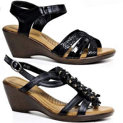 Ladies Wedge Sandals Womens Heels Strappy Summer Dress Party Gladiator Shoes Siz • 7.95£
