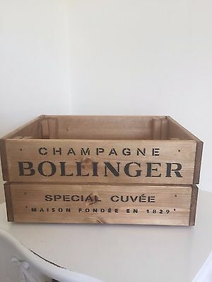 Vintage Style  Wooden Bollinger  Champagne Wine Crate Box Storage Shabby Chic  • 21.95£