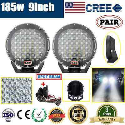 AU149.95 • Buy 2x 9inch 185W CREE LED DRIVING LIGHT OFFROAD SPOTLIGHT WORK 4WD LAMP+ WIRING KIT