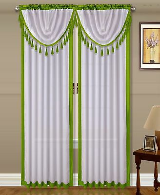 $11 • Buy 2pc AMY #2 Sage Green White Silky Rod Pocket Panel Window Treatment Curtain  84