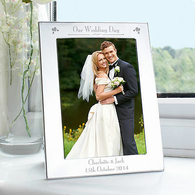 £12.99 • Buy Personalised - Silver On OUR WEDDING DAY Picture Photo Frame Anniversary Gift