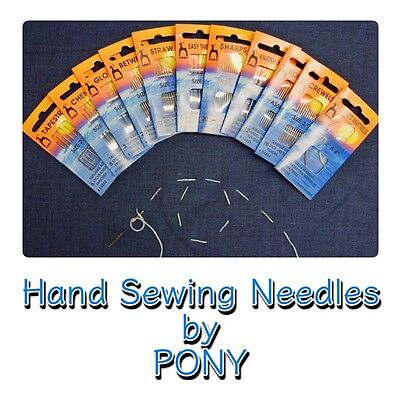 Gold Eye Quality Hand Sewing Needle Needles Packs Assorted Sizes By Pony • 2.59£