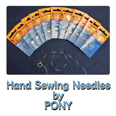 £1.59 • Buy HAND SEWING NEEDLES Packs Of Gold Eye Quality Needles Assorted Sizes By Pony