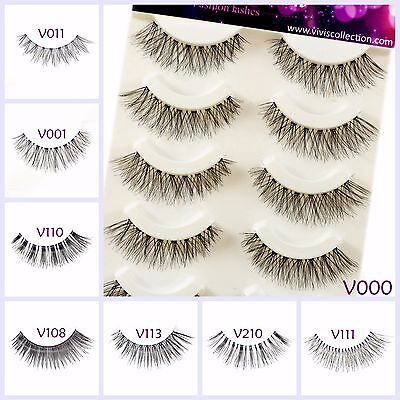 5 Pairs False Eyelashes Long Thick Natural Fake Eye Lashes Set Mink Makeup UK • 2.99£
