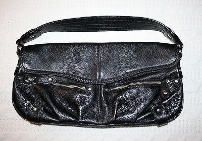 $ CDN35 • Buy EUC Danier Pebbled Black Leather Baguette Shoulder Bag Evening Purse