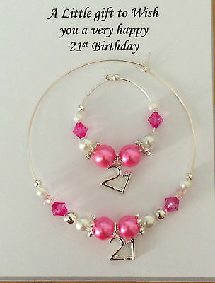 Wine, Champagne Bottle & Glass Charm 18th & 21st  Birthday Gift Present Hot Pink • 5£