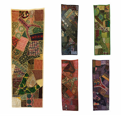 INDIAN Wall Hanging Tapestry Tablerunner Embroidered Patchwork Ethically Made • 24.99£