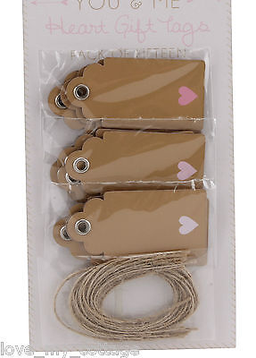 Vintage Style 15 Gift Tags Kraft Blank Luggage Label Twine Pink Love Heart Xmas • 2.95£