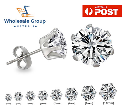 AU5.95 • Buy 2pc Brilliant Round Diamond Stainless Steel Earring Simulated Stud Mens Womens