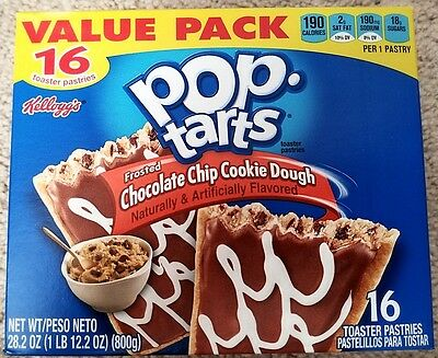 £10.88 • Buy NEW Pop Tarts Toaster Pastries Frosted Chocolate Chip Cookie Dough 16 Count
