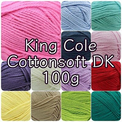 King Cole Cottonsoft DK Double Knit Cotton Knitting Crochet Yarn 100g Ball • 4.25£