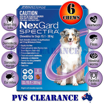AU111.95 • Buy Nexgard Spectra Purple 6 For Large Dogs 15.1 - 30 Kg 6 Pack - Nexguard Spectrum