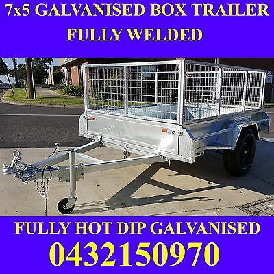 AU1649 • Buy 7x5 Box Trailer Fully Welded Fully Galvanised With Mesh Cage Heavy Duty