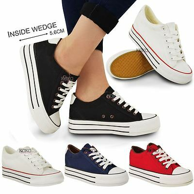 Ladies Womens Hi Top Wedge Trainers Canvas Lace Up Sneaker Pump Skaters Size New • 16.99£