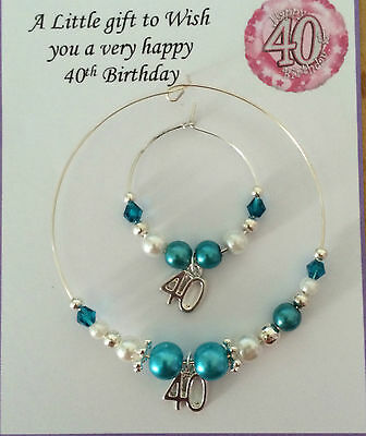 Wine, Champagne Bottle & Glass Charm 18th & 21st Birthday Turquoise In Gift Bag • 5£