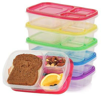 Pack Of 3 Eco-Friendly Bento Lunch Box Food Container 3-Compartment Storage Box • 7.99£