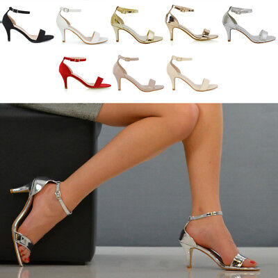 Womens Low Heel Stiletto Sandals Ladies Peep Toe Party Prom Ankle Strap Shoes • 18.99£