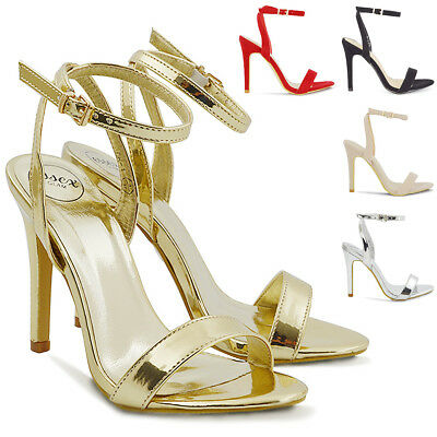 Womens High Heel Sandals Peep Toe Stiletto Ladies Two Part Ankle Strap Shoes 3-8 • 14.99£