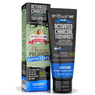 AU19.95 • Buy My Magic Mud Charcoal & Bentonite Clay Whitening Toothpaste Peppermint 113 G