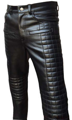 £69.10 • Buy Mens Motorcycle Bikers Pants Black Leather Quilted Design  Jeans Trouser
