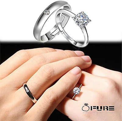 £2.99 • Buy Fashion Rhinestones Sterling Silver-plated  Adjustable Couple Finger Rings