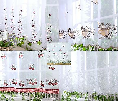 £8.99 • Buy Embroidered White Cafe Net Curtains 18  24  33  38   Sold By Meter - Pure Voile